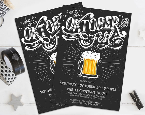 Oktoberfest Invitation - Oktoberfest Party, Oktoberfest Invite, Octoberfest,Beer Fest   Self-Editing with CORJL - INSTANT DOWNLOAD Printable