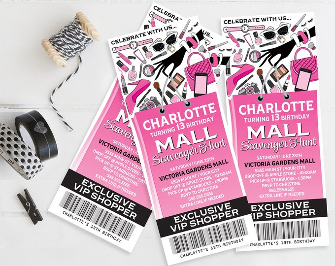 Mall Scavenger Ticket Invitation, Birthday Party Ticket Invite   Self-Editing with CORJL - INSTANT DOWNLOAD Printable Template