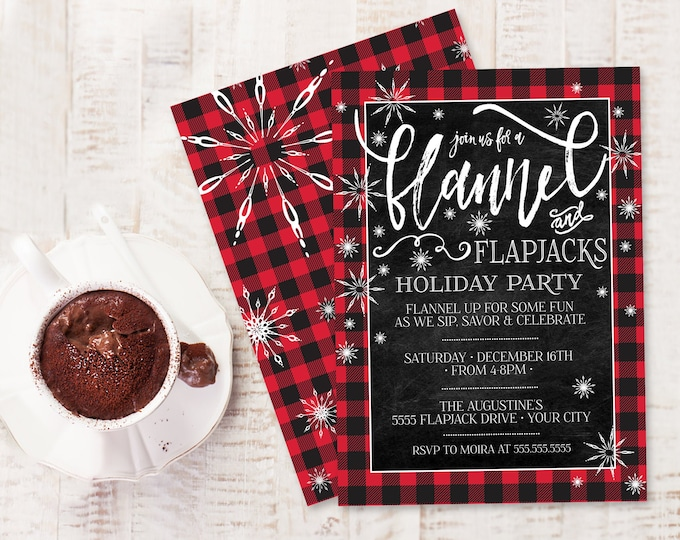 Flannel & Flapjacks Invitation -Buffalo Plaid,Holiday Party,Christmas Party,Winter Party | Self-Edit with CORJL - INSTANT DOWNLOAD Printable