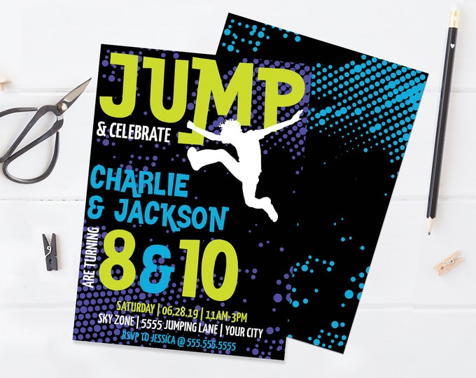 Jump Birthday Invitation - 2-Names, Twins, Trampoline Invite, Jump & Play,Bounce On Over | Self-Edit with CORJL - INSTANT DOWNLOAD Printable