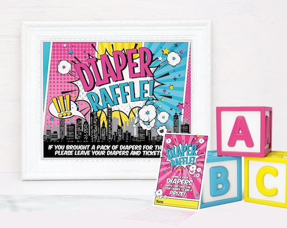 Superhero Diaper Raffle SET - Sign & Cards, Baby Shower Set | Self-Edit with CORJL - INSTANT Download Printable
