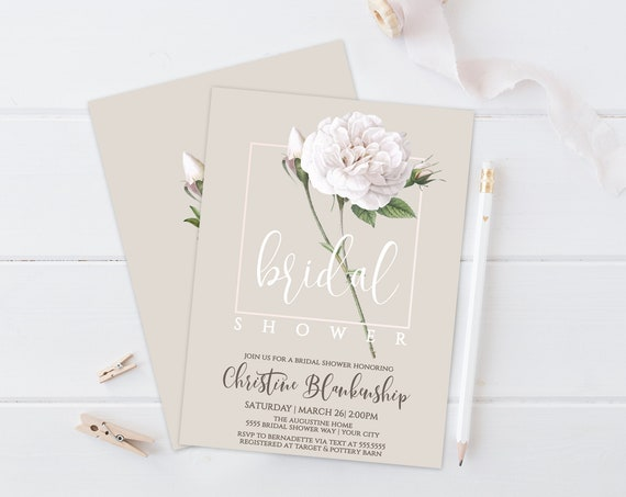 White Roses Bridal Shower Invitation - Roses Shower Invitation, Shower Invite | Self-Edit with CORJL - INSTANT DOWNLOAD Printable