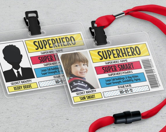 Superhero VIP All Access Pass/Badge, Superhero I.D. Badge,Superhero Birthday Party Favor | Self-Edit with CORJL - INSTANT Download Printable