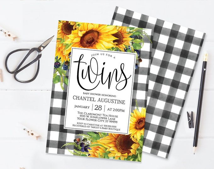 Sunflower Twins Baby Shower Invitation, Boho, Watercolor, Greenery, Baby Shower | Self-Editing with CORJL - INSTANT DOWNLOAD Printable