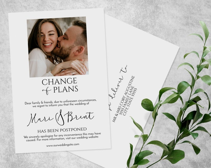 Change of Plans Wedding Date Announcement Postcard, Postponement,Save the Date Postcard |  Self-Edit with CORJL - INSTANT DOWNLOAD Printable