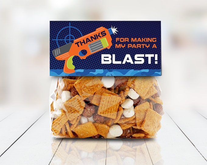 """Dart Wars 4"""" Treat Topper - Dart Wars Party Favor, Treat Bag Topper   Self-Editing with CORJL - INSTANT DOWNLOAD Printable"""