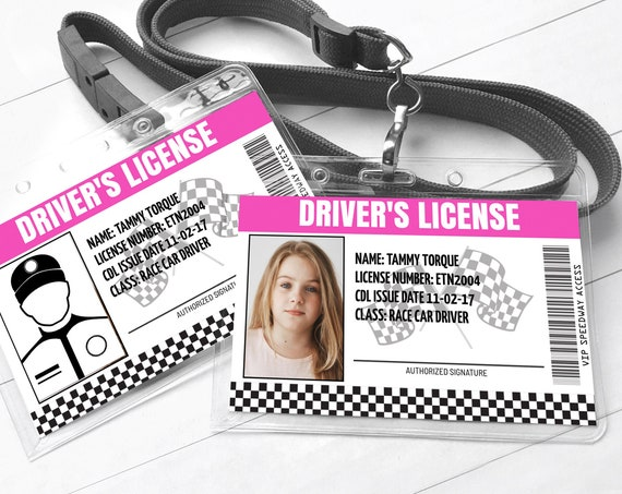Race Car Driver's License - ID Badge, Cars Birthday, License ID - Pink | Self-Edit with CORJL - Instant Download Printable Template