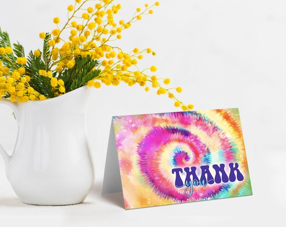 Tie Dye Thank You Card - Tie Dye Thank You Notes, Hippie Party, Love Peace Tie Dye | Download & Print | INSTANT DOWNLOAD Printable Template