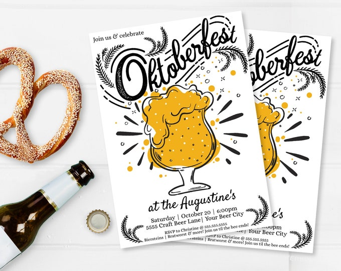 Oktoberfest Invitation - Oktoberfest Party, Oktoberfest Invite, Octoberfest,Beer Fest | Self-Editing with CORJL - INSTANT DOWNLOAD Printable
