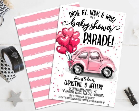 Drive-By Baby Shower Invitation - Social Distancing Baby Shower, Couples Shower | Self-Editing with CORJL - INSTANT DOWNLOAD Printable