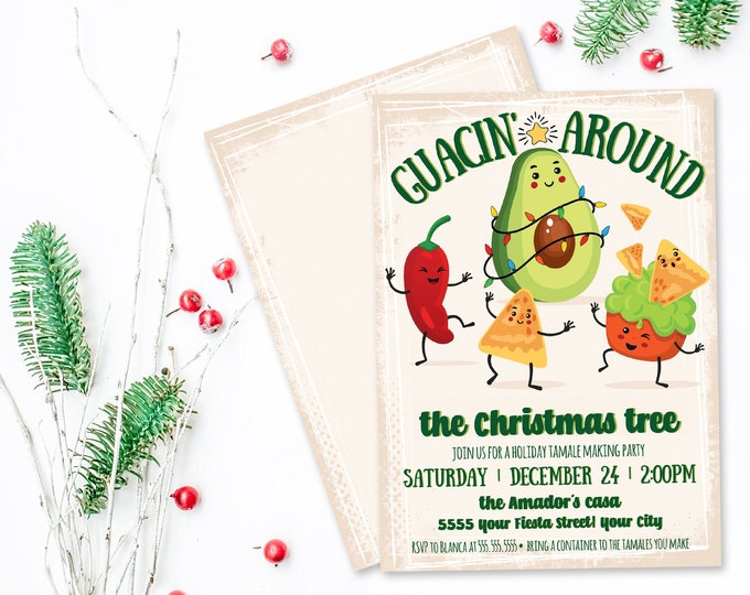 Guacin' Around Holiday Invitation, Rock'n Around, Christmas Party,Avocado,Holiday Fiesta | Self-Edit with CORJL - INSTANT DOWNLOAD Printable