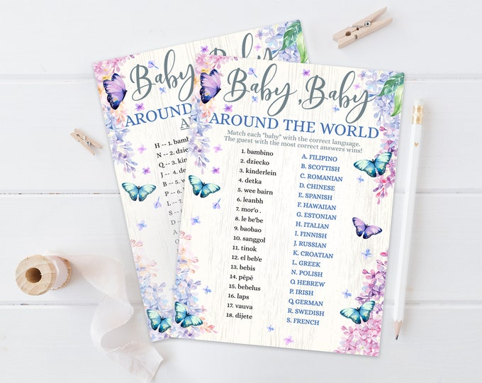 Baby Around the World Match Baby Shower Game,International Baby Match,Butterfly & Flowers   Self-Edit with CORJL - INSTANT Instant Printable