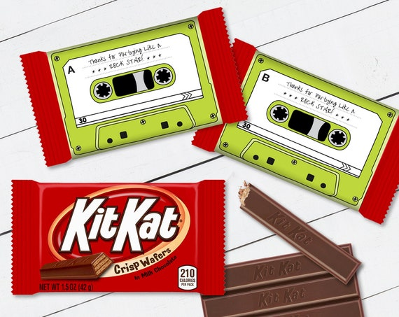 Cassette Tape Kit Kat Candy Bar Label/Wrapper - Retro Party Favor, 80's Party, Green | Self-Edit with CORJL - INSTANT DOWNLOAD Printable