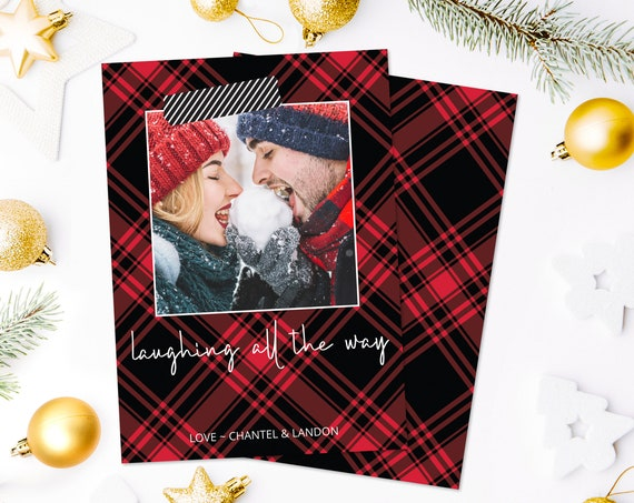 Christmas Photo Card - Laughing All The Way Christmas Plaid Card, Photo Greeting Card | Self-Edit with CORJL - INSTANT Download Printable