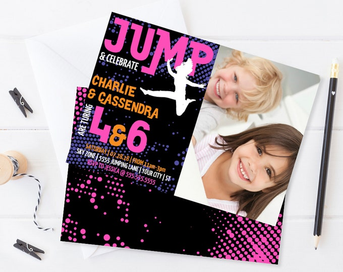 Jump Party Photo Invitation - 2 Kids Invite,Trampoline,Jump & Play,Bounce On Over   Self-Edit with CORJL INSTANT DOWNLOAD Printable Template