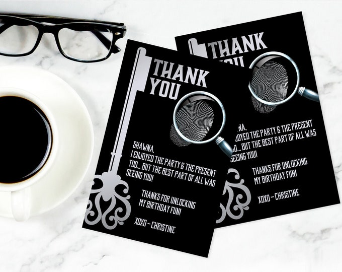 Escape Room Thank You Card, 4X6-INCH Escape Room Party, Mystery Party Thank You | Self-Editing with CORJL - INSTANT Download Printable