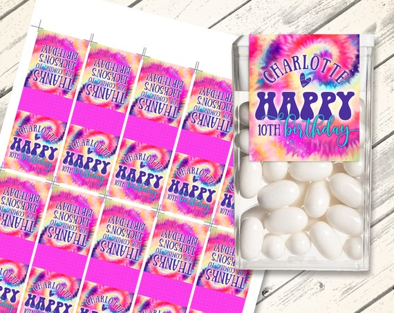 Tie Dye Tic Tac Label - Love Peace Tie Dye, Hippie Party | Self-Edit with CORJL - INSTANT DOWNLOAD Printable