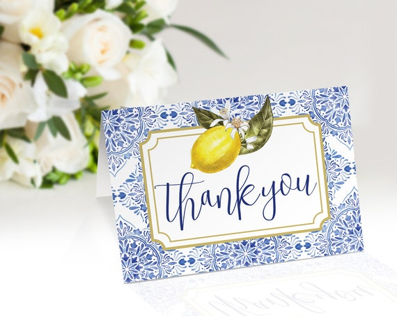 "Tuscan Lemon Thank You Card - 5""x3.5"" Folded Thank You Note, Bridal Shower,Birthday 