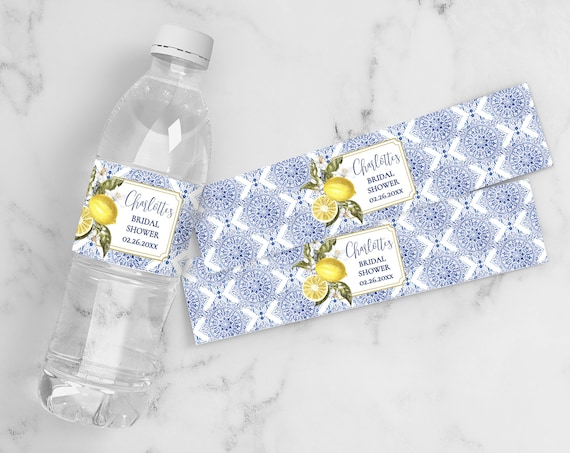Tuscan Lemon Water Bottle Label/Wrap - Birthday Party, Bridal Shower, Baby Shower | Self-Edit Text with CORJL - INSTANT Download Printable