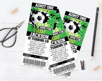 Soccer Party Ticket Invitation - Soccer Invite, American Football Party | Self-Edit with CORJL INSTANT DOWNLOAD Printable Template