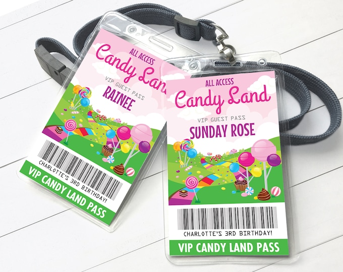 Candy Land Party VIP Badge, Candyland All Access Pass, ID badge, Party Favor   Self-Edit with CORJL - Instant Download Printable