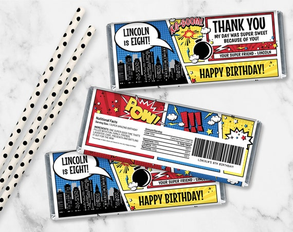 Superhero Candy Bar Wrappers - Superhero Favor, Chocolate Labels,Birthday Party | Self-Editing with CORJL - INSTANT DOWNLOAD Printable