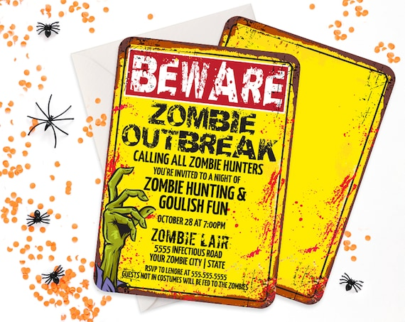 Zombie Party Invitation - Zombie Outbreak Party, Halloween Invite, Costume Party Invite | Self-Edit with CORJL - INSTANT DOWNLOAD Printable