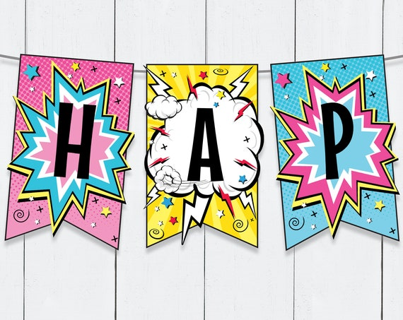 Supergirl Banner - Superhero Party, Comic Book Banner, Supergirl Party Decor Birthday   Self-Edit with CORJL - INSTANT DOWNLOAD Printable