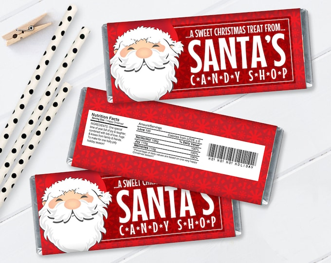 Santa Candy Bar Wrap - Santa Party Favor, Chocolate Labels, Christmas Candy Wrapper | Self-Edit with CORJL - INSTANT DOWNLOAD Printable
