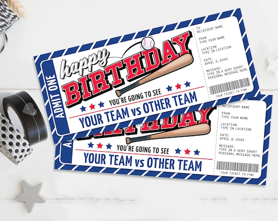 Birthday Baseball Ticket Gift Editable Template - Surprise Birthday Baseball Game Ticket | Self-Edit with CORJL - INSTANT DOWNLOAD Printable
