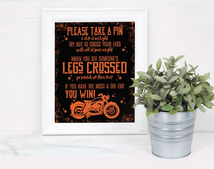 Motorcycle Don't Cross Your Legs Baby Shower Game Sign, Born to Ride Shower | Self-Edit with CORJL - INSTANT DOWNLOAD Printable