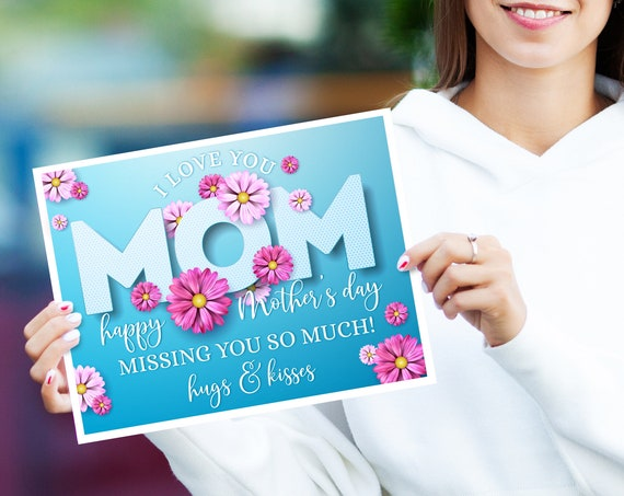Editable Mother's Day sign, Virtual Mom Sign, Social Distancing Mother's Day Sign | Self-Edit with CORJL - INSTANT Download Printable