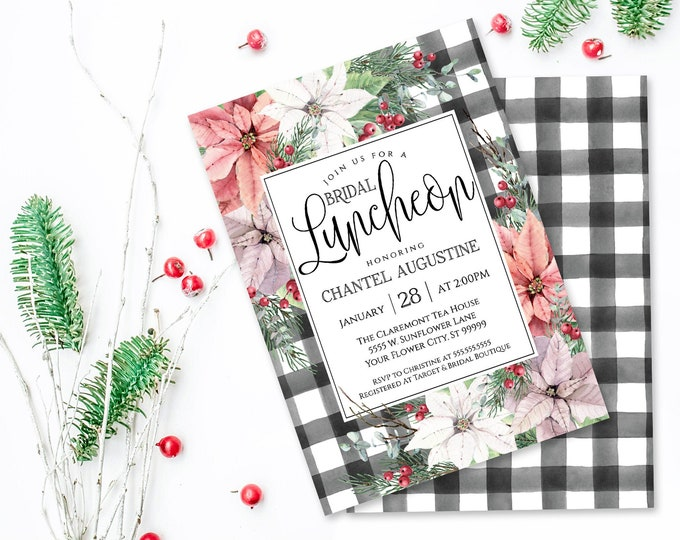 Poinsettia & Plaid Bridal Luncheon Shower Invitation, Watercolor, Wedding Shower | Self-Edit with CORJL - INSTANT DOWNLOAD Printable