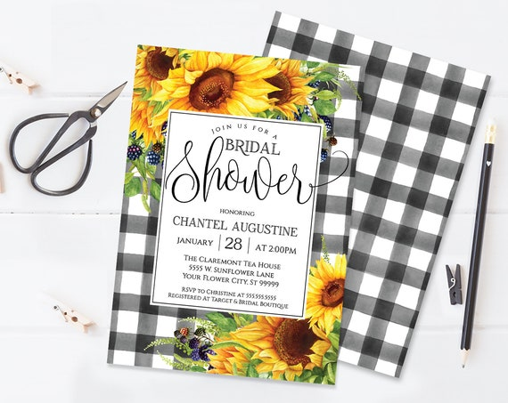 Sunflowers Bridal Shower Invitation, Boho, Watercolor, Greenery, Wedding Shower |  Self-Editing with CORJL - INSTANT DOWNLOAD Printable
