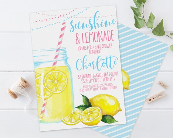 Lemonade Baby Shower Invitation - Sunshine & Lemonade, Mason Jar, Summer Shower | Self-Edit with CORJL-Instant DOWNLOAD Printable Template