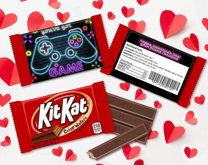 Valentine You've Got Game Neon PS4 Controller Kit Kat Candy Wrap/Label, Video Gamer | Self-Edit with CORJL - INSTANT Download Printable