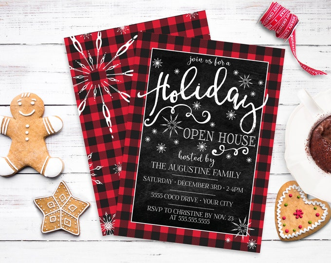 Holiday Open House Invite - Holiday Party, Buffalo Plaid Invite, Christmas Open House| Self-Editing with CORJL - INSTANT DOWNLOAD Printable