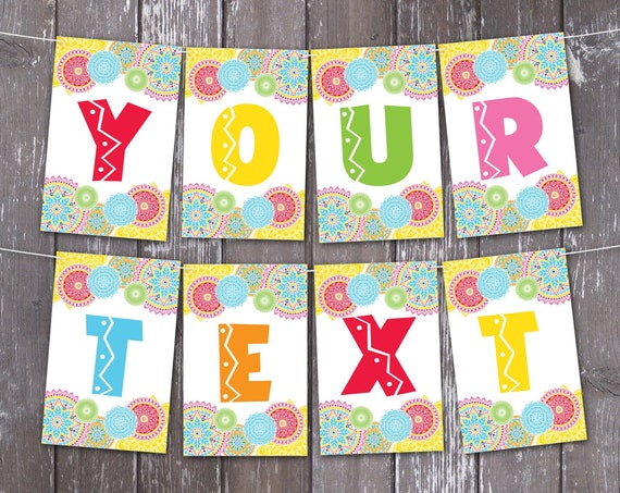 Fiesta Banner - Fiesta Party, Cinco De Mayo, Fiesta BirthdayParty | Self-Editing with CORJL - INSTANT DOWNLOAD Printable