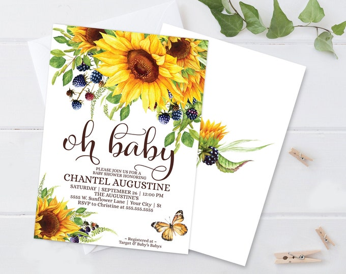 Sunflowers Oh Baby Shower Invitation, Boho, Watercolor, Greenery, Baby Shower | Self-Editing with CORJL - INSTANT DOWNLOAD Printable