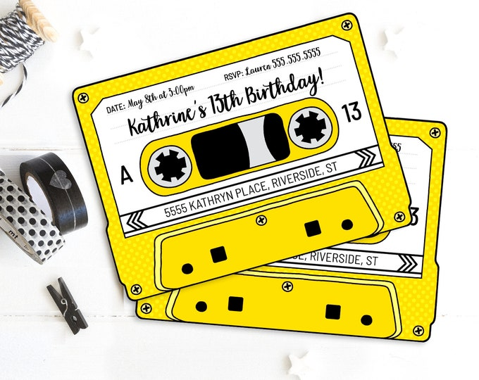 Cassette Tape Invitations - Retro Party, 80s Party Invitation,Mixtape Invite,Yellow | Self-Edit with CORJL - INSTANT DOWNLOAD Printable