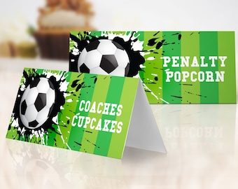 Soccer Food Labels - Soccer Birthday, Soccer Party, Place-card, Table Tent | Self-Edit with CORJL - INSTANT Download Printable