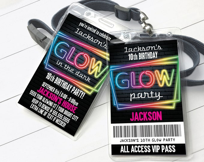 Neon Glow Invitation Party Badge, Neon Glow VIP Badge, Glow Party Invite | Self-Editing with CORJL - INSTANT Download Printable