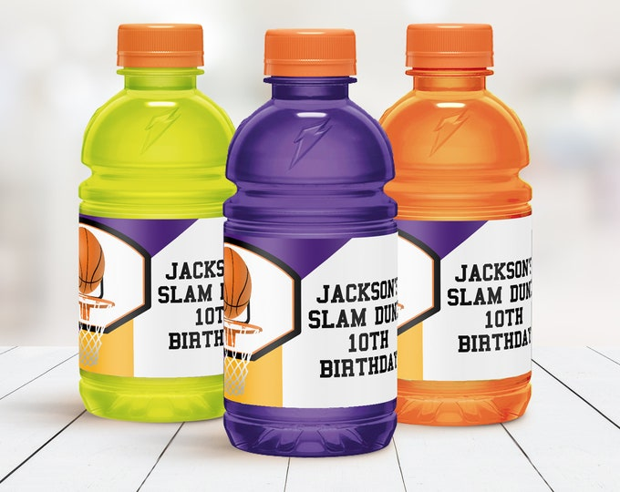 Basketball 12oz Gatorade Wrap/Label - Drink Label,Basketball Party,Basketball Birthday | Self-Edit with CORJL - INSTANT Download Printable