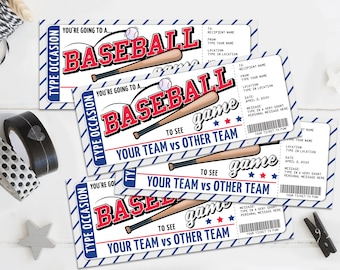 Baseball Ticket Gift Editable Template - 4 SMALL Surprise Baseball Tickets,Any Occasion   Self-Edit with CORJL -Instant DOWNLOAD Printable
