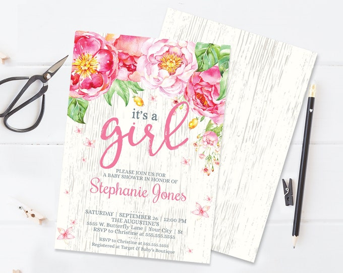 It's A Girl Flower Baby Shower Invitation - Flower Shower, Spring, Garden Party | Self-Editing with CORJL - INSTANT DOWNLOAD Printable