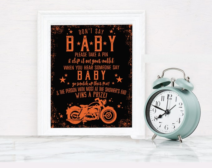 Motorcycle Don't Say Baby - Baby Shower Game Sign, Born to Ride Shower | Self-Edit with CORJL - INSTANT DOWNLOAD Printable