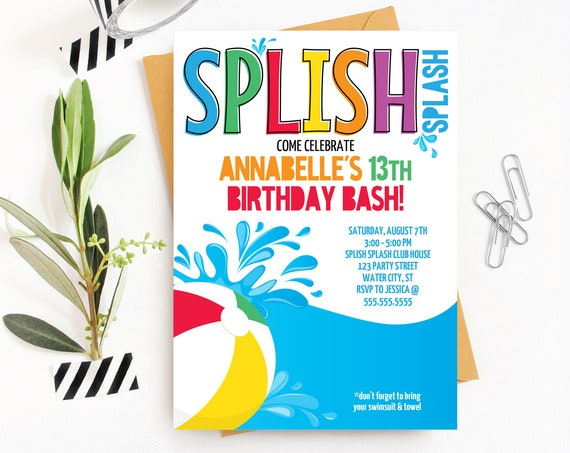 Pool Party Invitation - Slip n' Slide Party, Beach Party, Summer Birthday | Self-Edit with CORJL - INSTANT DOWNLOAD Printable Template