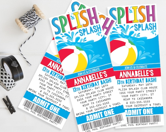 Pool Party Ticket Invitation - Slip n' Slide Party, Beach Party,Summer Birthday | Self-Edit with CORJL - INSTANT DOWNLOAD Printable Template
