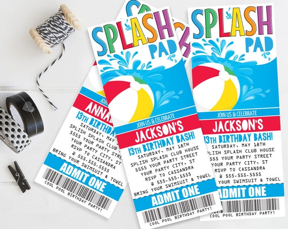 Splash Pad Ticket Invitation - Pool Party, Beach Party, Summer Birthday | Self-Edit with CORJL - INSTANT DOWNLOAD Printable Template