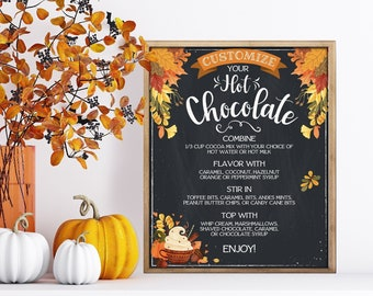 Hot Chocolate Party Sign/Menu - Autumn Hot Coco Bar, Fall, Chocolate Bomb Party, Cocoa   Self-Edit with CORJL - INSTANT DOWNLOAD Printable